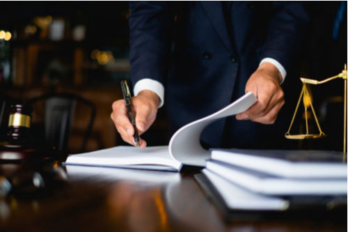 Lawyer conducting car accident deposition in Douglasville, Georgia