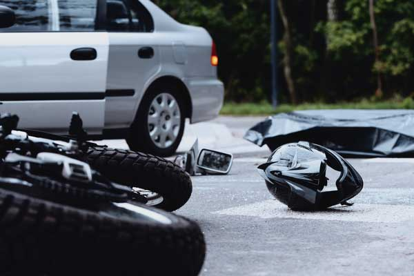 Motorcycle accident, motorcycle hit by car